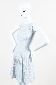 ALAÏA Alaia Stretch Ribbed Knit Woven Eyelet Detail Sleeveless Dress