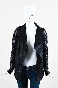 Rick Owens Waxed Denim Leather Sleeve Buttoned Ls M Black Jacket