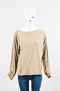 Ralph Lauren Black Label Suede Ls Boat Neck Shirt Top Beige