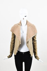 Rick Owens Camel Shearling Leather Zip Front Ls Moto Motorcycle Jacket