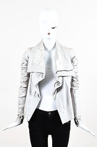 Rick Owens Metallic Zip Front Draped Ls Leather Motorcycle Jacket