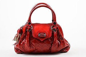 Moschino Patent Tote in Red
