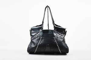 Versace Gianni Leather Tote in Black