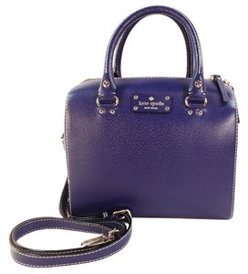 Kate Spade Alessa Wellesley Leather Navy Textured Leather Satchel in Holiday Blue