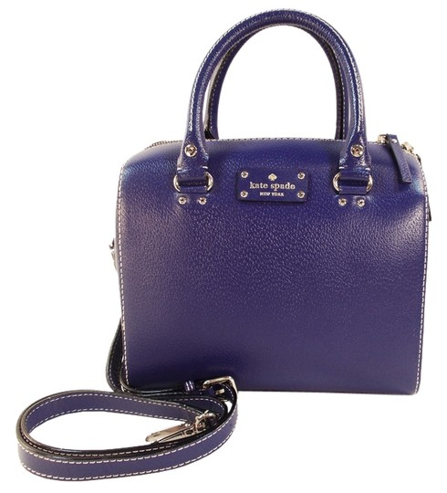 Kate Spade Alessa Wellesley Leather Navy Textured Leather Satchel in Holiday Blue Image 0