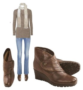Earth Dune Leather Ankle Wedge Brown Boots