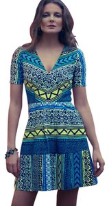 Plenty by Tracy Reese short dress Blue yellow black on Tradesy