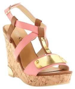 Bucco Gold Pink Wedges