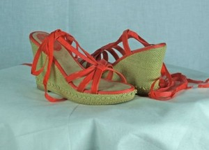 Seychelles Bright Coral Wedges Espadrilles Ankle Wrap Blue Platforms