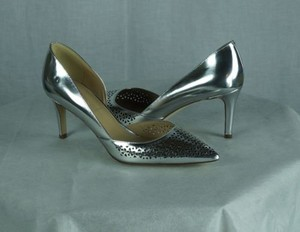 J.Crew Valentina Mirror Perforated Heels Silver Pumps