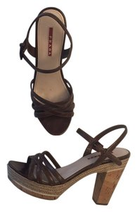 Prada Cork Jute Brown Sandals