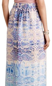 Anthropologie Silk Maxi Spring Summer Maxi Skirt blue, pink, purple, ivory