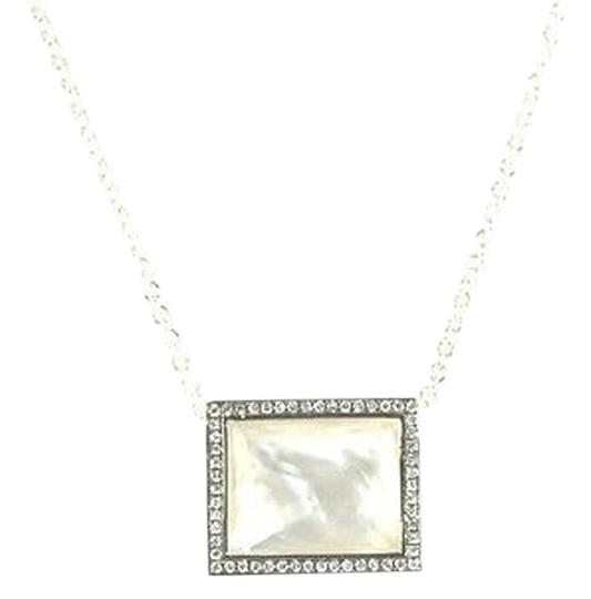 Ippolita IPPOLITA Mother of Pearl Diamond Necklace Sterling Silver Rectangle Pendant