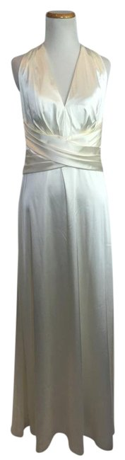 Item - Ivory Full Length Stretch Charmeuse Halter Neck Long Night Out Dress Size 12 (L)