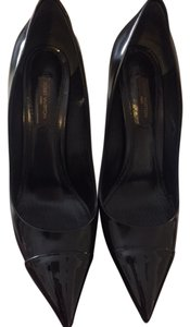 Louis Vuitton Leather Patent Leather Black calf skin leather/patent toe cap Pumps
