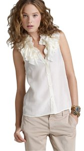 J.Crew Silk Ruffle Sleeveless Top Champagne