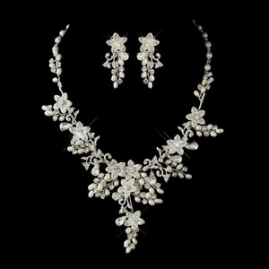 Freshwater Pearl Floral Wedding Jewelry Set