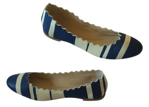 Chlo Blue and white stripe Flats