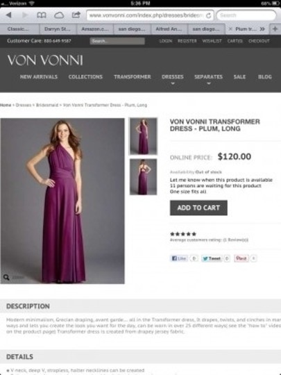 Von Vonni Plum Jersey Transformer Modern Bridesmaid/Mob Dress Size OS (one size)