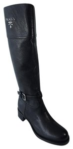 Prada Grain Leather Riding Black Boots