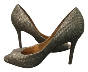 Badgley Mischka Sparkle Peep Toe Formal Gold Pumps