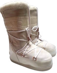 Jimmy Choo Suede Shearling Moon Winter Snow Ivory Boots