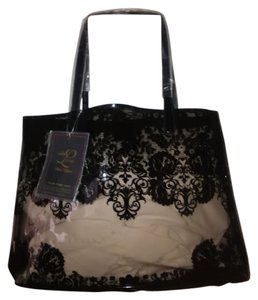 Paris Hilton New Tote in Clear w/Black imbedded look Lace