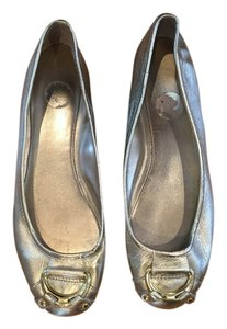 Ralph Lauren Hardware Leather Gold Flats