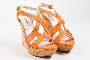 Miu Miu Coral And Beige Orange Sandals