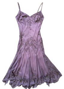 Adrianna Papell Beaded Embroide Purple Silk Dress