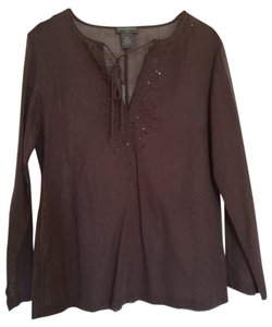 Banana Republic Brown Cotton Sheer Embroidered Tunic