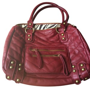 Linea Pelle Quilted Zebra Studded Tote in Red