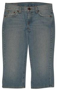 Lucky Brand 5 Pocket Style Zip Fly Low Rise 100% Cotton Capri/Cropped Denim-Light Wash