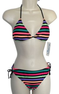 California Waves California Waves Striped Bikini Swim Suite Set Top and Bottom Size S