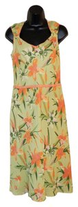 Adrianna Papell short dress Green and orange Summer Floral Lined Linen on Tradesy