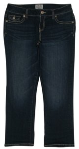 Aéropostale Bayla Skinny Back Flap Pockets Zip Fly Low Rise Flap Coin Pocket Capri/Cropped Denim-Dark Rinse