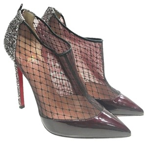 Christian Louboutin Glitter Mesh Filette Wine Pumps