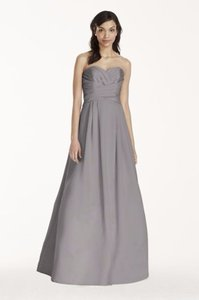 David's Bridal Mercury Strapless Satin Pleated Bodice Ball Gown F15554 Dress
