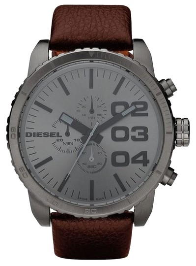 Preload https://item3.tradesy.com/images/diesel-grey-with-brown-leather-strap-watch-1481412-0-0.jpg?width=440&height=440
