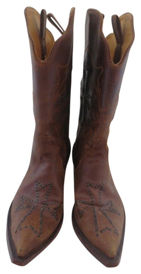 Old Gringo Distressed Brown Ooh My God Distressed Gringo Studded Crosses Boots/Booties 18da98