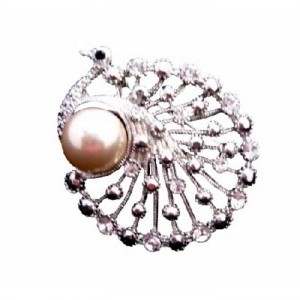 Silver Ivory Peacock Round Stylish Cubic Zircon W/ Pearls Brooch/Pin