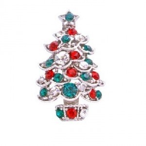 Red Green Christmas Tree Sparkling Cubic Zircon Gift Brooch/Pin