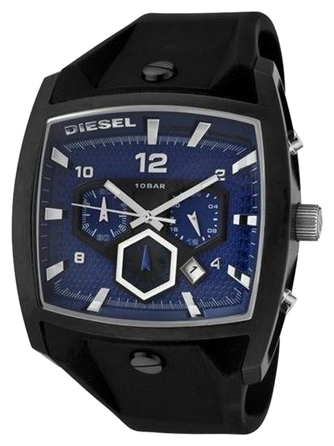 Diesel Blue with Black Silicone Strap Chronograph Watch Diesel Blue with Black Silicone Strap Chronograph Watch Image 1