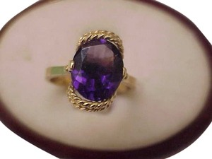Antique Art Deco 10k Yellow Gold Huge Natural Amethyst Ring,1930s