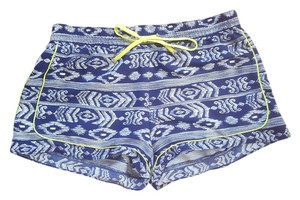 Saks Fifth Avenue Silk Print Dress Shorts Blue Multi