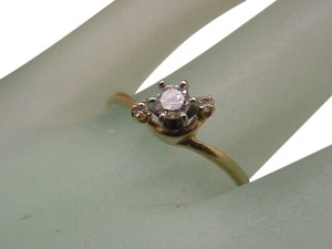 Estate Vintage 14k Yellow Gold Engagment .22ct Diamond Ring,1950's