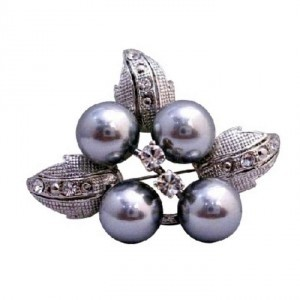 Silver Grey Flower Pearls Casting Leaves Decoraed Cubic Zircon Brooch/Pin