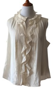 Talbots Silk Sleeveless Plus Size Button Down Top Cream