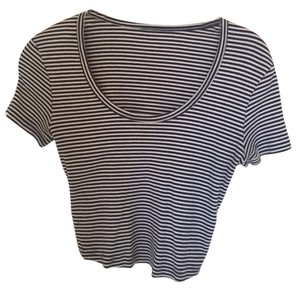 American Apparel Crop Striped T Shirt Stripe Navy