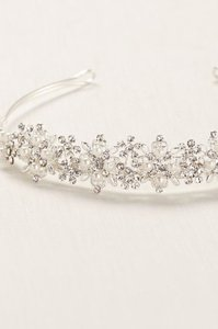 David's Bridal Silver Floral Crystal and Pearl Tiara